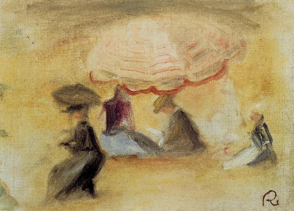 famous painting On the Beach of Pierre-Auguste Renoir