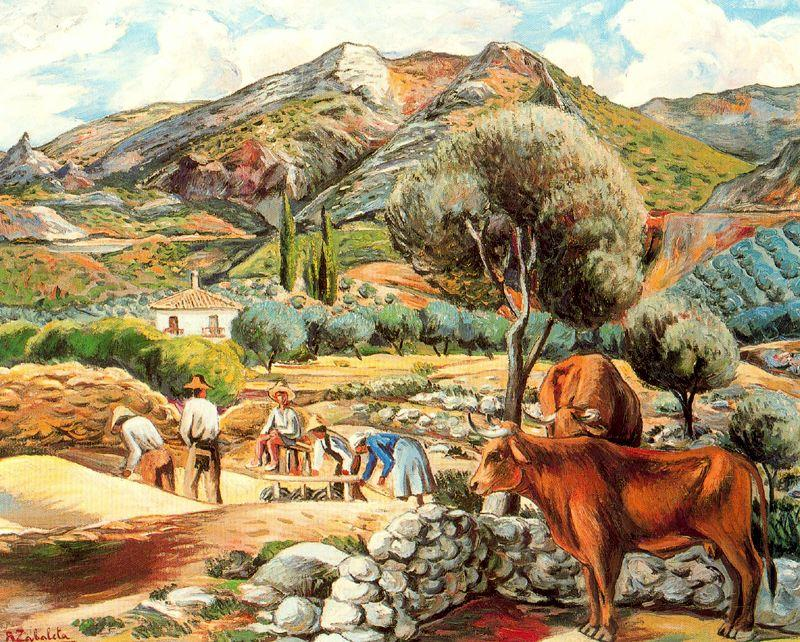famous painting Landscape with artist's farmhouse in Fique of Rafael Zabaleta Fuentes