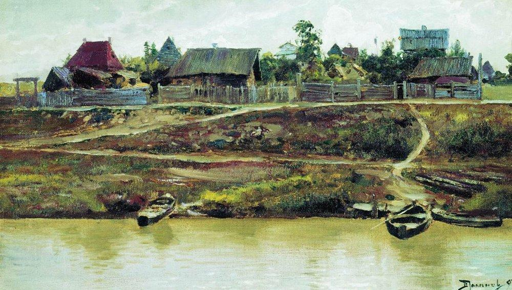 famous painting A settlement near Volga of Vasily Dmitrievich Polenov