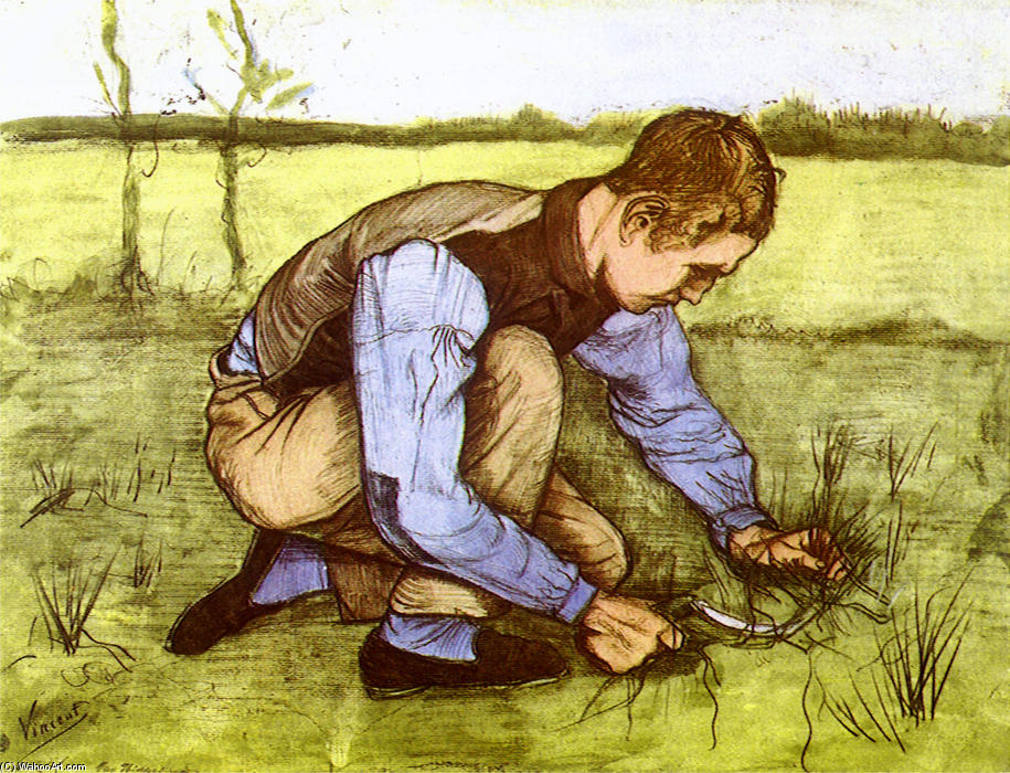 famous painting Boy Cutting Grass with a Sickle of Vincent Van Gogh