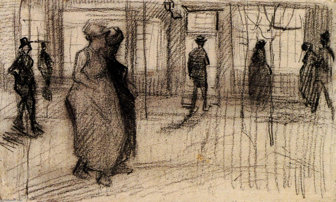 Order Museum Quality Copies | People Walking on a Street in the Evening by Vincent Van Gogh | Most-Famous-Paintings.com