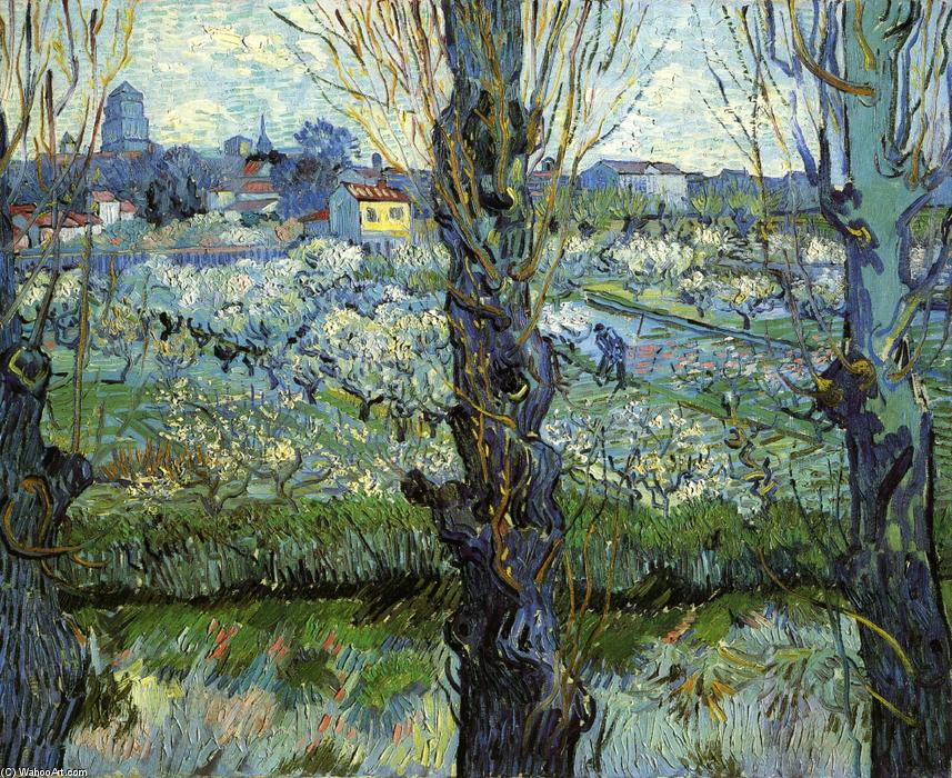 famous painting Orchard in Bloom with Poplars of Vincent Van Gogh