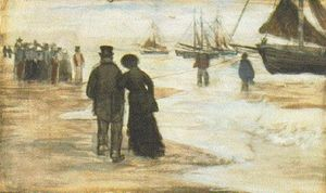 Vincent Van Gogh - Beach with People Walking and Boats