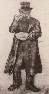 Vincent Van Gogh - Orphan Man with Top Hat, Eating from a Plate