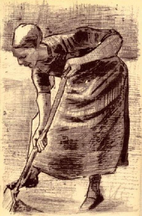 famous painting Woman Digging of Vincent Van Gogh