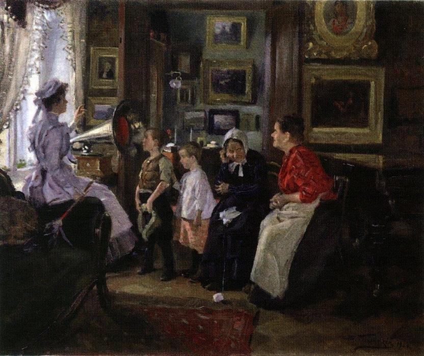 famous painting They listen the gramophone of Vladimir Yegorovich Makovsky