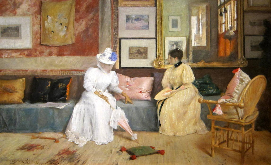 Buy Museum Art Reproductions | A Friendly Call by William Merritt Chase | Most-Famous-Paintings.com