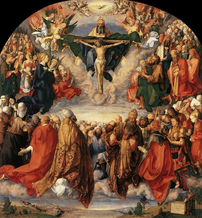 Buy Museum Art Reproductions | The Adoration of the Trinity by Albrecht Durer | Most-Famous-Paintings.com