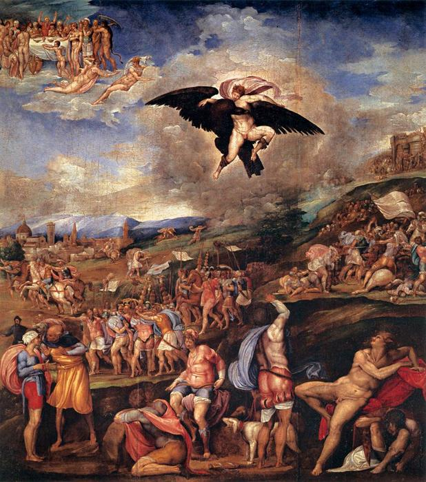 Order Reproductions | The Battle of Montemurlo and the Rape of Ganymede by Battista Franco Veneziano | Most-Famous-Paintings.com