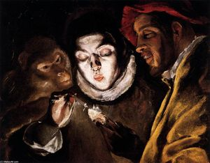 El Greco (Doménikos Theotokopoulos) - An Allegory with a Boy Lighting a Candle in the Company of an Ape and a Fool (Fábula)