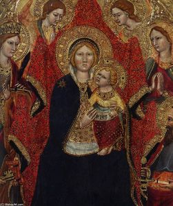 Gregorio Di Cecco - Madonna Enthroned with Angels and Saints (detail)