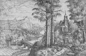 Hans Sebald Lautensack - View of a Town along the River with a Church on the Right Bank