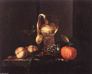 Willem Kalf - Still-Life with Silver Bowl, Glasses, and Fruit