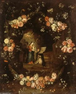 Jan Van Kessel - Madonna with the Child and St Ildephonsus Framed with a Garland of Flowers