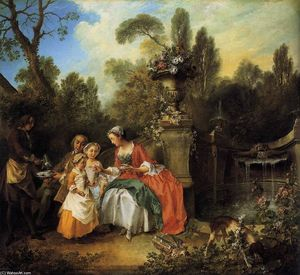 Nicolas Lancret - Lady and Gentleman with two Girls and a Servant
