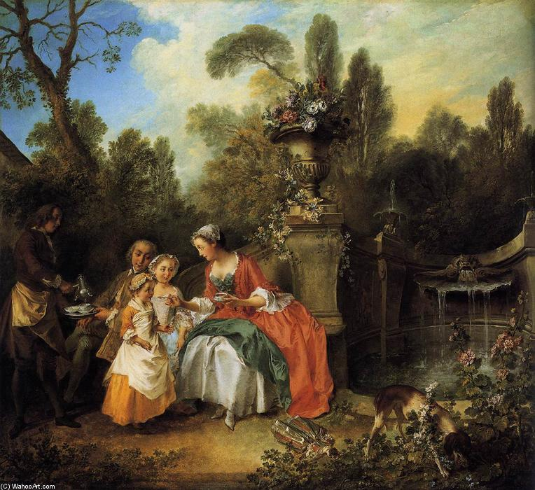 famous painting Lady and Gentleman with two Girls and a Servant of Nicolas Lancret