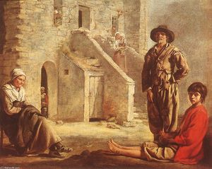 Antoine (Brother) Le Nain - Peasants at their Cottage Door