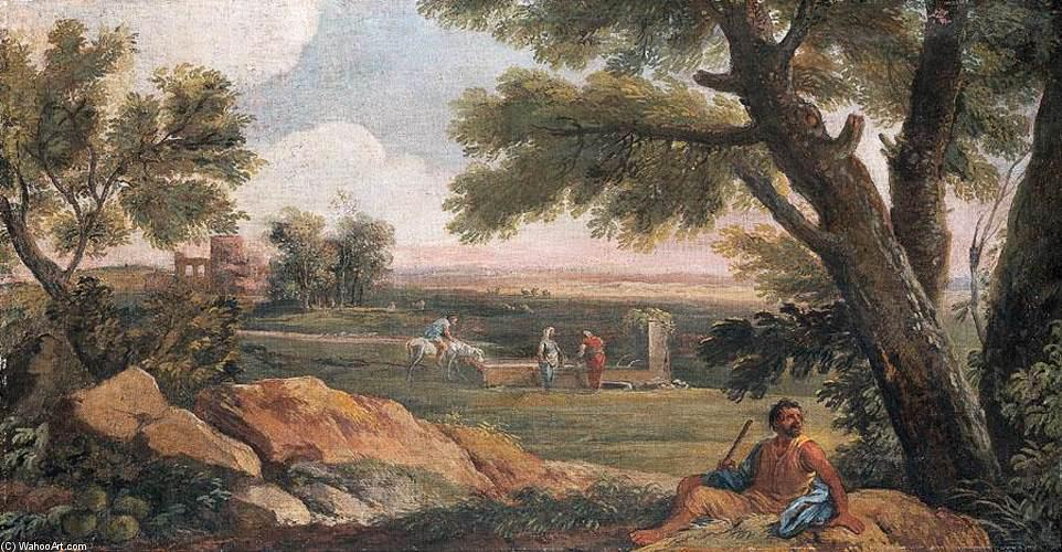 famous painting Landscape in Lazio with a Well of Andrea Locatelli