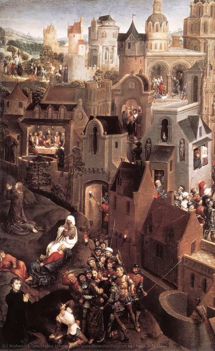 famous painting Scenes from the Passion of Christ (left side) of Hans Memling