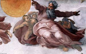 Michelangelo Buonarroti - Creation of the Sun, Moon, and Plants (detail)