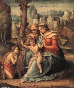Francesco D'ubertino Verdi (Bacchiacca) - Madonna with Child, St Elisabeth and the Infant St John the Baptist