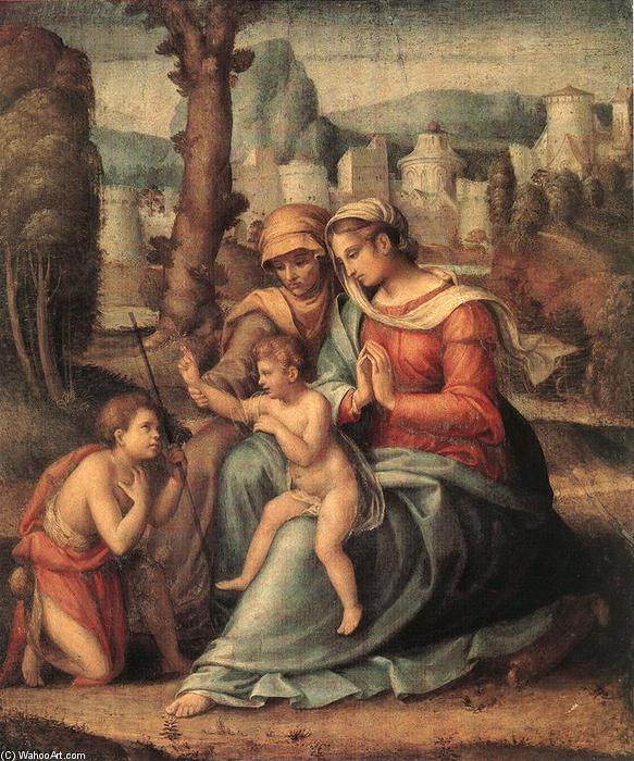 famous painting Madonna with Child, St Elisabeth and the Infant St John the Baptist of Francesco D'ubertino Verdi (Bacchiacca)