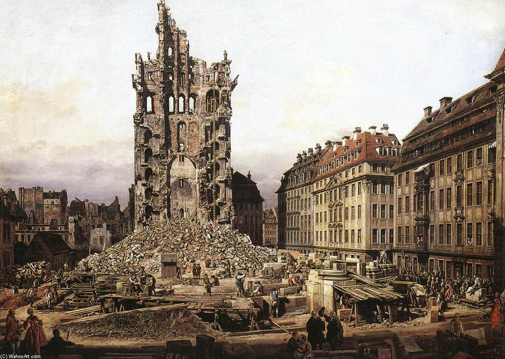 famous painting The Ruins of the Old Kreuzkirche in Dresden of Bernardo Bellotto