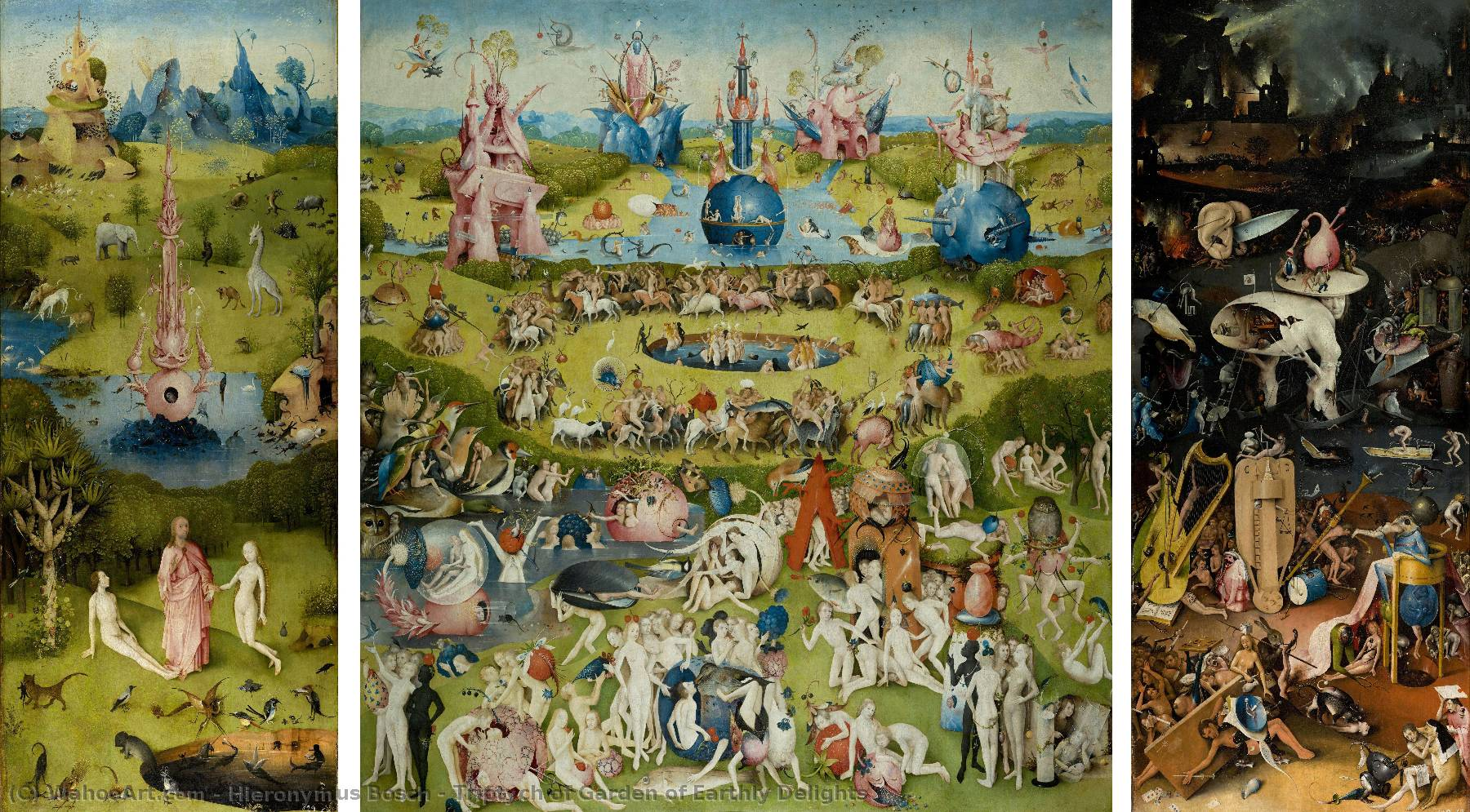 Order Paintings Reproductions | Triptych of Garden of Earthly Delights by Hieronymus Bosch | Most-Famous-Paintings.com
