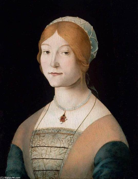famous painting Portrait of a Woman with a Pearl Necklace of Lorenzo Costa (The Elder)