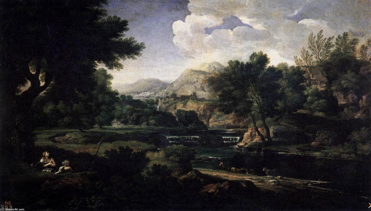 famous painting Landscape with Magdalen Worshipping the Cross of Gaspard Dughet