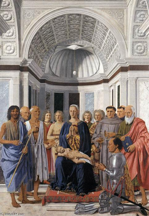 famous painting Madonna and Child with Saints (Montefeltro Altarpiece) of Piero Della Francesca