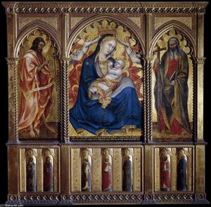 Taddeo Di Bartolo - Virgin and Child with St John the Baptist and St Andrew