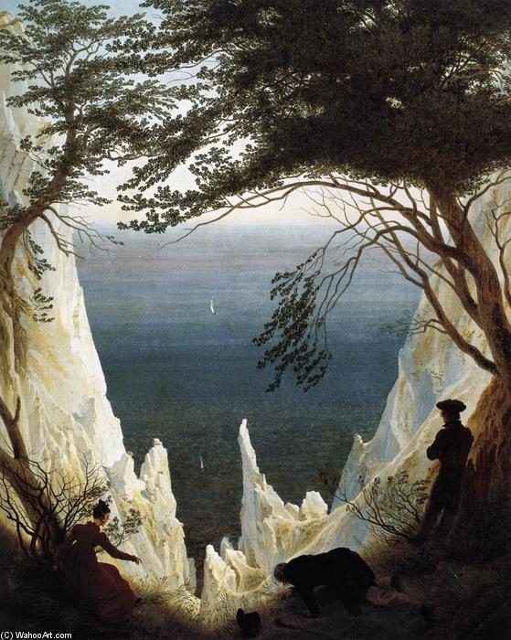 Buy Museum Art Reproductions | Chalk Cliffs on Rügen by Caspar David Friedrich | Most-Famous-Paintings.com