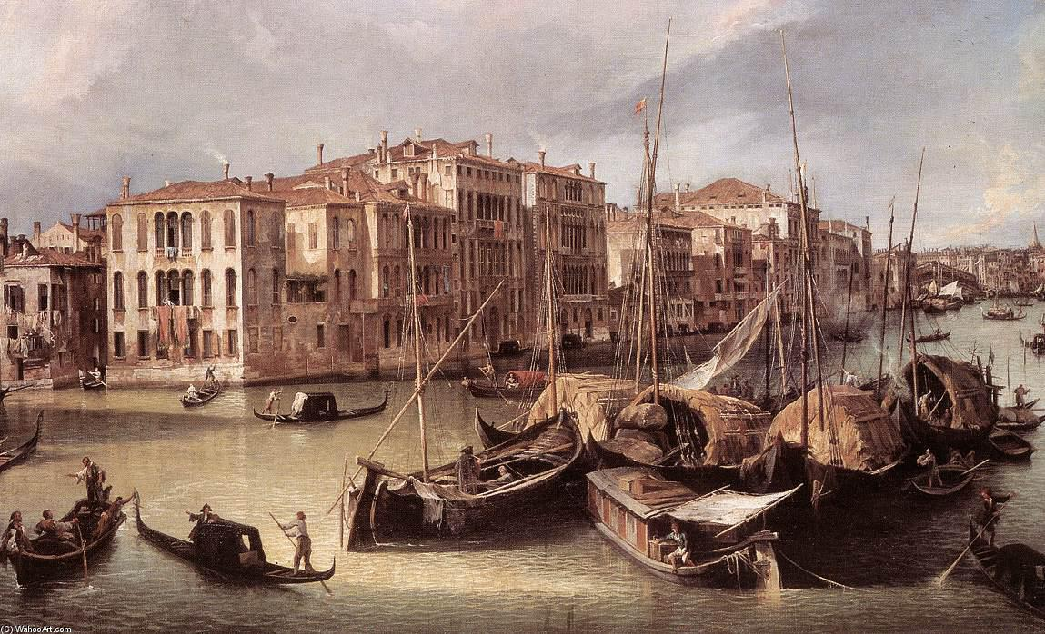 Order Reproductions | Grand Canal: Looking North-East toward the Rialto Bridge (detail) by Giovanni Antonio Canal (Canaletto) | Most-Famous-Paintings.com
