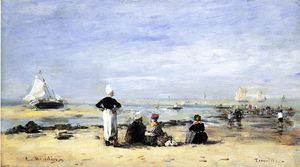 Eugène Louis Boudin - Low Tide at Trouville