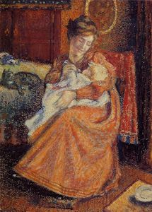 Georges Lemmen - Madame Gaorges Mellen and Lise (also known as The New Baby)