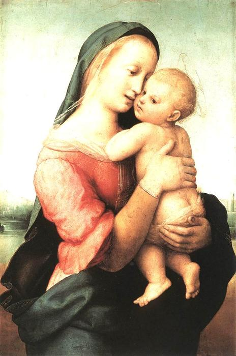 famous painting Madonna and Child (The Tempi Madonna) of Raphael (Raffaello Sanzio Da Urbino)