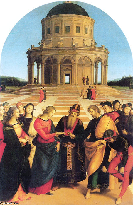 famous painting Marriage of the Virgin of Raphael (Raffaello Sanzio Da Urbino)