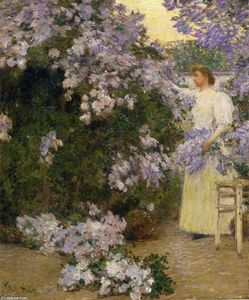Frederick Childe Hassam - Mrs. Hassam in the Garden
