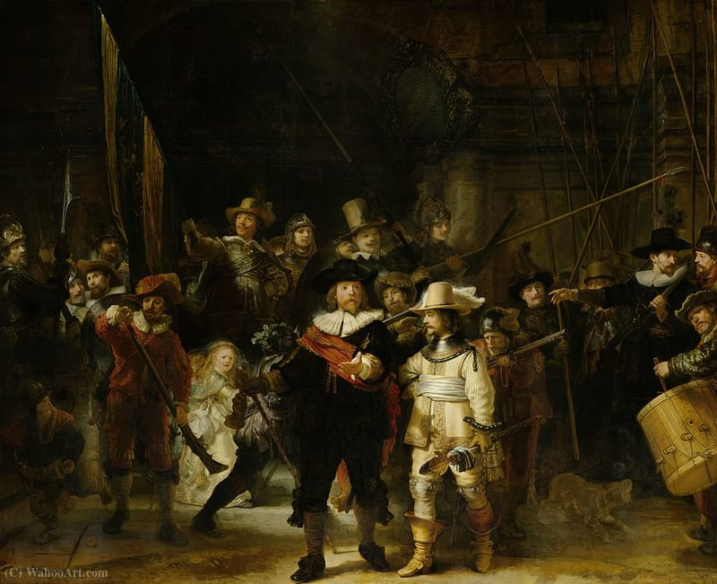 Night Watch by Rembrandt Van Rijn (buy Famous Polyptych Print on Acrylic glass Rembrandt Van Rijn)
