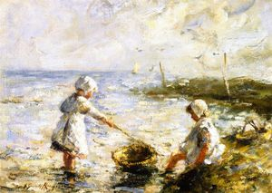 Robert Gemmell Hutchison - Paddling in the Shallows