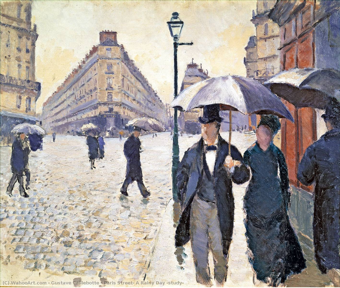 famous painting Paris Street: A Rainy Day (study) of Gustave Caillebotte
