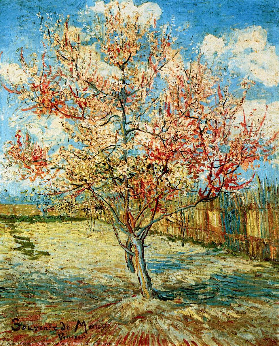 Buy Museum Art Reproductions | Peach Trees in Blossom by Vincent Van Gogh | Most-Famous-Paintings.com