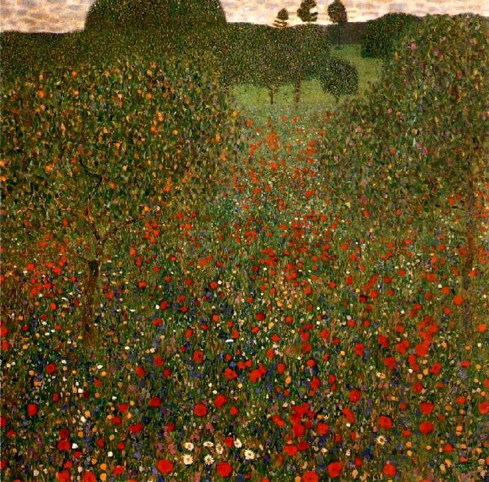 famous painting Poppy Field of Gustav Klimt