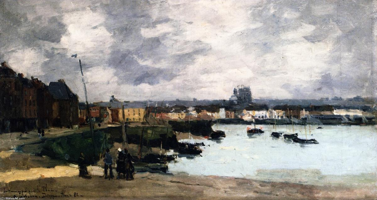 Buy Museum Art Reproductions | The Quays of Dieppe, after the Rain by Albert-Charles Lebourg (Albert-Marie Lebourg) | Most-Famous-Paintings.com