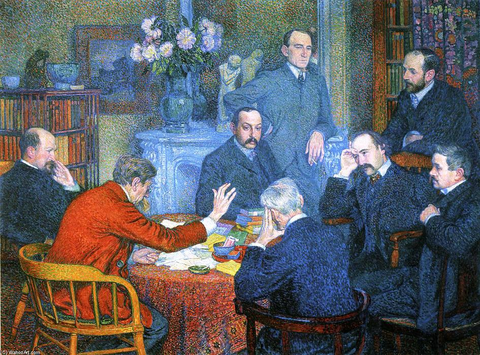 famous painting A Reading by Emile Verhaeren of Theo Van Rysselberghe