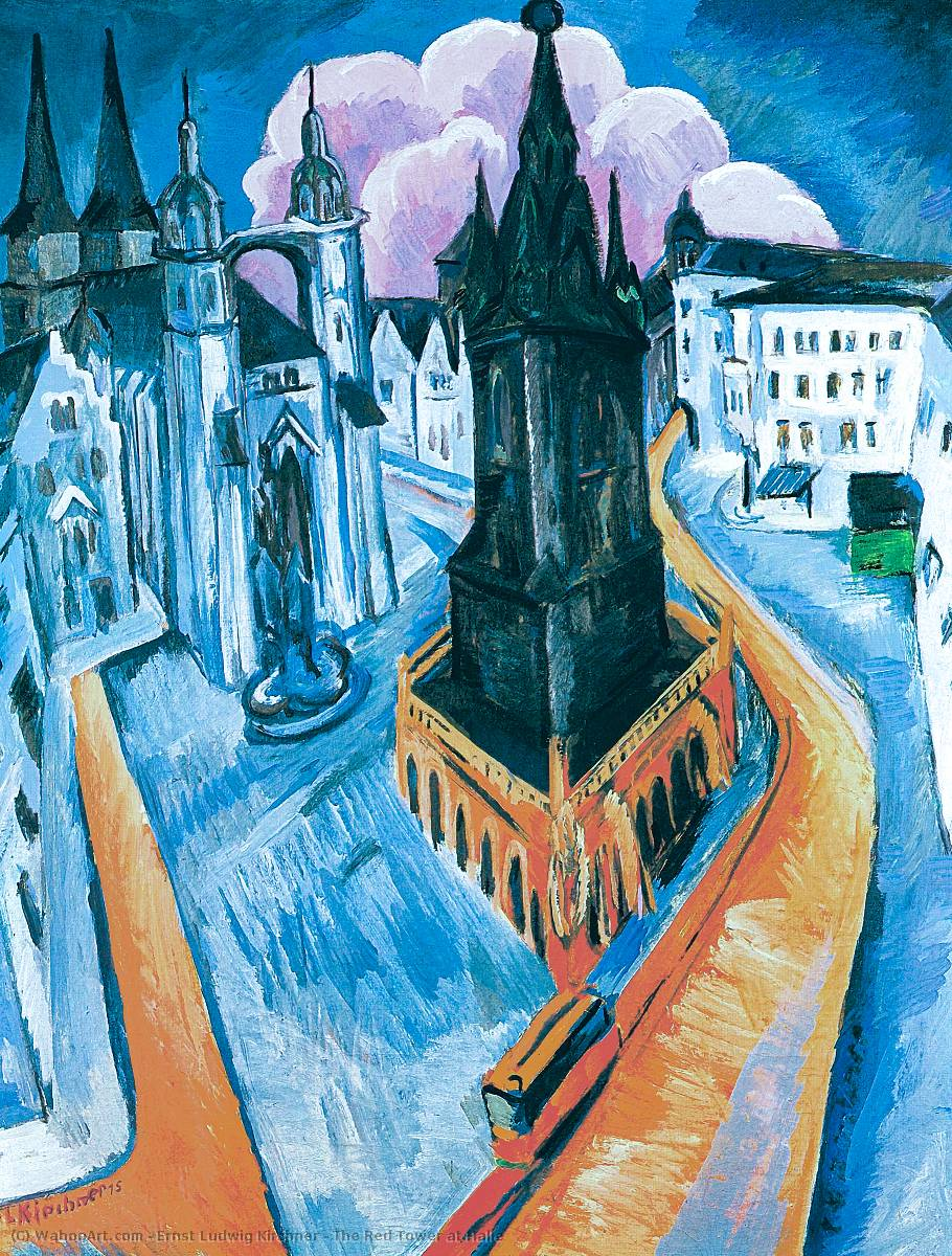 famous painting The Red Tower at Halle of Ernst Ludwig Kirchner