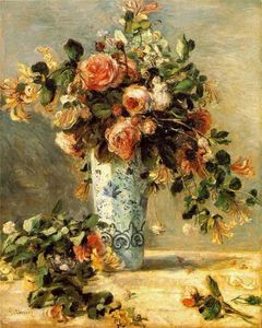 Pierre-Auguste Renoir - Roses and Jasmine in a Delft Vase
