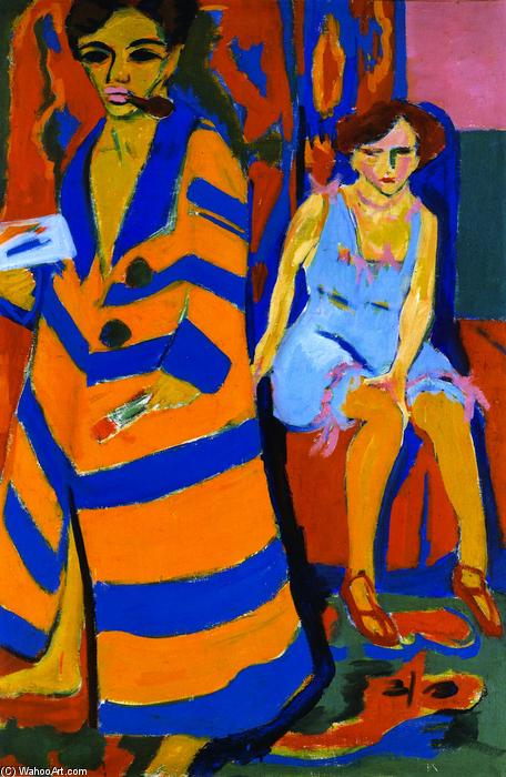 Buy Museum Art Reproductions | Self-portrait with Model by Ernst Ludwig Kirchner | Most-Famous-Paintings.com