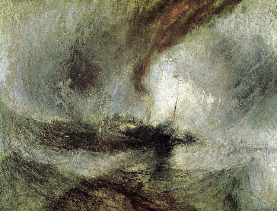 Order Art Reproductions | Show Storm - Seam-Boat off a Harbour's Mouth Making Signals in Shallow Water, and Going by the Lead. The Author was in this Storm on the Night the Ariel Left Harwich by William Turner | Most-Famous-Paintings.com